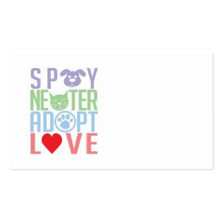 Spay el neutro adoptan el amor 2 tarjetas de visita