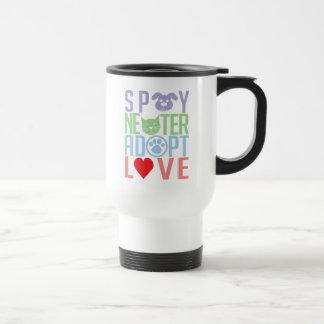 Spay el neutro adoptan el amor 2 taza de viaje de acero inoxidable