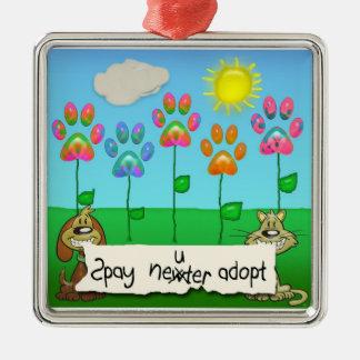 spay neiter adopt square metal christmas ornament