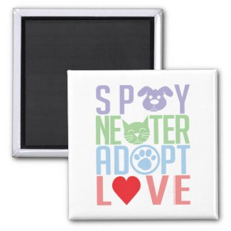 Spay Neuter Adopt Love 2 2 Inch Square Magnet