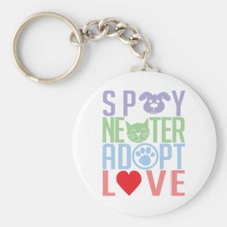 Spay Neuter Adopt Love 2 Basic Round Button Keychain