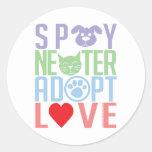 Spay Neuter Adopt Love 2 Classic Round Sticker