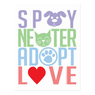 Spay Neuter Adopt Love 2 Postcard