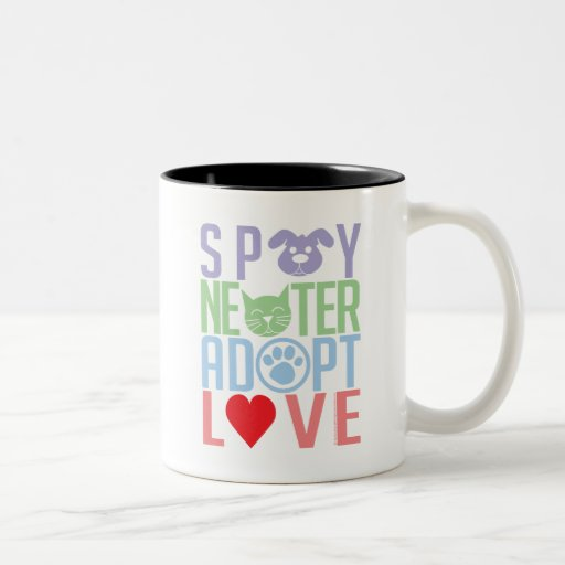 Spay Neuter Adopt Love 2 Two-Tone Coffee Mug