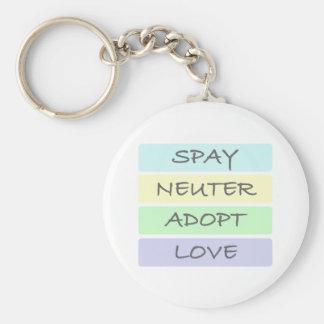 Spay Neuter Adopt Love Basic Round Button Keychain
