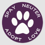 Spay Neuter Adopt Love Classic Round Sticker