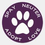 Spay Neuter Adopt Love Round Sticker