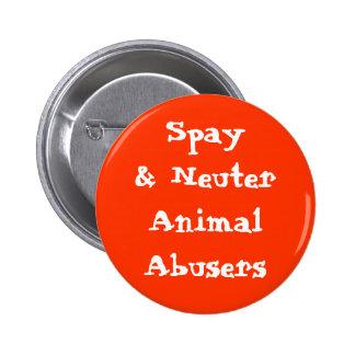 Spay& Neuter Animal Abusers Pinback Button