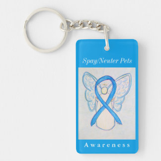 Spay/Neuter Pets Awareness Ribbon Angel Keychain