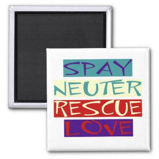 Spay Neuter Rescue Love 2 Inch Square Magnet