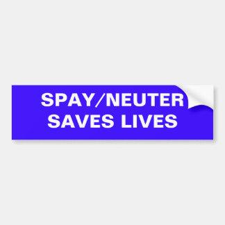 SPAY/NEUTER SAVES LIVES CAR BUMPER STICKER