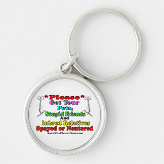Spay or Neuter Silver-Colored Round Keychain