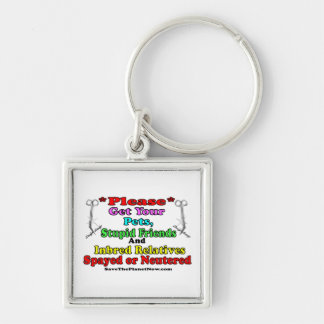 Spay or Neuter Silver-Colored Square Keychain