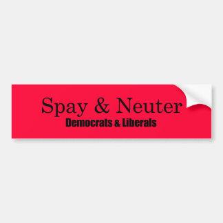 Spay y neutralice a los liberales etiqueta de parachoque