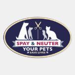Spay y neutralice a sus mascotas colcomanias de oval