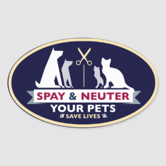 Spay y neutralice a sus mascotas pegatina ovalada