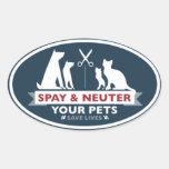 Spay y neutralice a sus mascotas pegatinas de óval