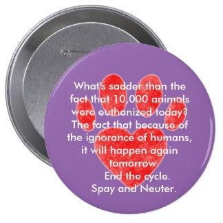 Spay y neutralice el botón de Pawprint Pin Redondo De 4 Pulgadas
