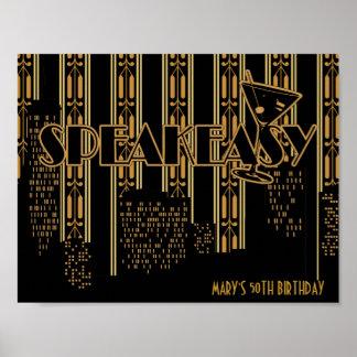Speak Easy, 1920's Birthday Party Poster