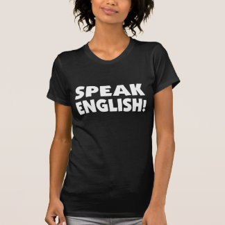 Speak English (b/w) Ladies Basic Dark T-Shirt