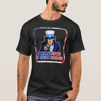 Speak English In Patriotic Frame Dark T-Shirt