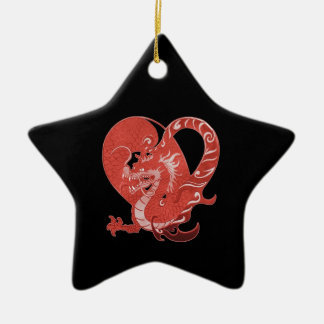 Speak LOVE out loud dragon and heart Ceramic Ornament