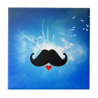 Speak LOVE out loud moustache Small Square Tile