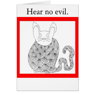 Speak No Evil Cat Card