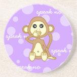 Speak No Evil - Cute Monkey Cartoon Beverage Coasters