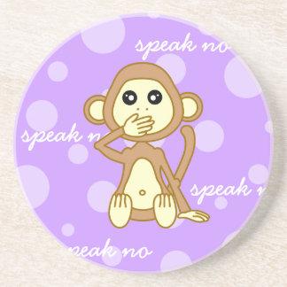 Speak No Evil - Cute Monkey Cartoon Drink Coaster