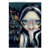 artsprojekt, art, seer, crow, raven, angel, surreal, eye, gothic angel, witch, witches, creepy, wing, wings, mouth, teeth, fangs, tooth, fang, yokai, fantasy, eyes, big eye, big eyed, jasmine, becket-griffith, becket, griffith, jasmine becket-griffith, jasmin, strangeling, artist, goth, gothic, fairy, gothic fairy, faery, fairies, faerie, Card with custom graphic design