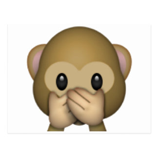 Speak No Evil Monkey - Emoji Postcard