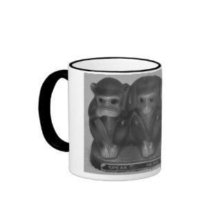 Speak See Hear Do NO evil Money statue Ringer Coffee Mug