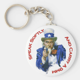 Speak Softly & Carry a 9mm Uncle Sam with Gun Basic Round Button Keychain