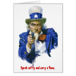 Speak Softly & Carry a 9mm Uncle Sam with Gun Greeting Card