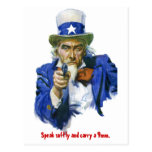 Speak Softly & Carry a 9mm Uncle Sam with Gun Postcard