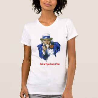 Speak Softly & Carry a 9mm Uncle Sam with Gun T Shirt