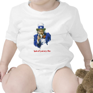 Speak Softly & Carry a 9mm Uncle Sam with Gun Tees
