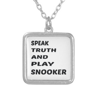 Speak Truth and play Snooker. Silver Plated Necklace