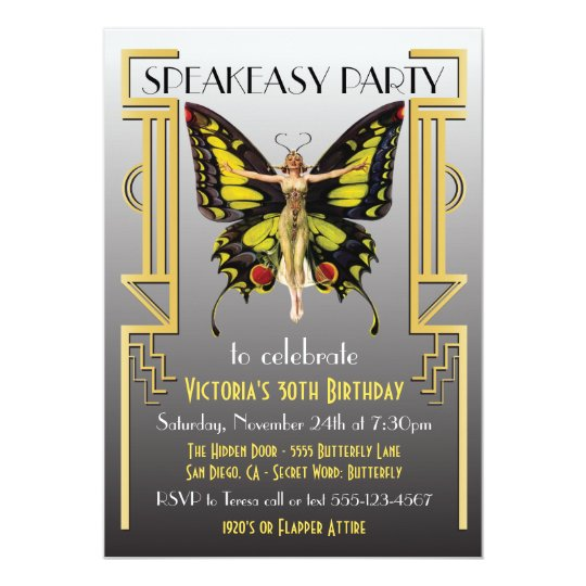 Speakeasy Flapper Great Gatsby Party Invitation Zazzlecom