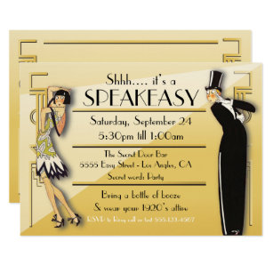 Speakeasy Flapper Great Gatsby Party Invitation