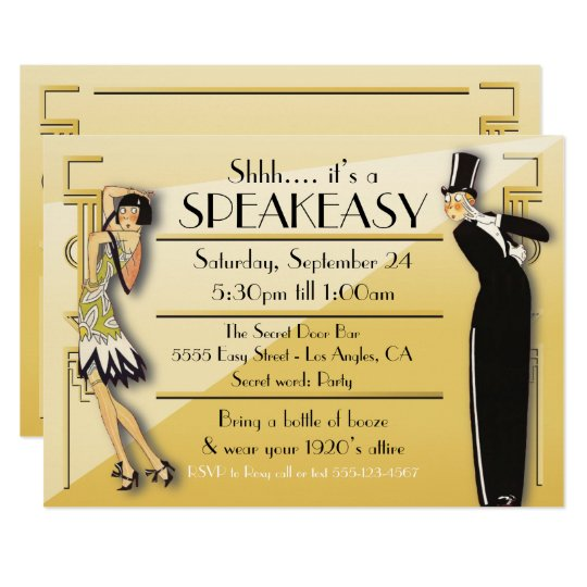 Speakeasy Flapper Great Gatsby Party Invitation Zazzlecom