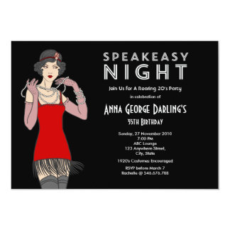 Speakeasy Night Party Roaring 20's 5x7 Paper Invitation Card