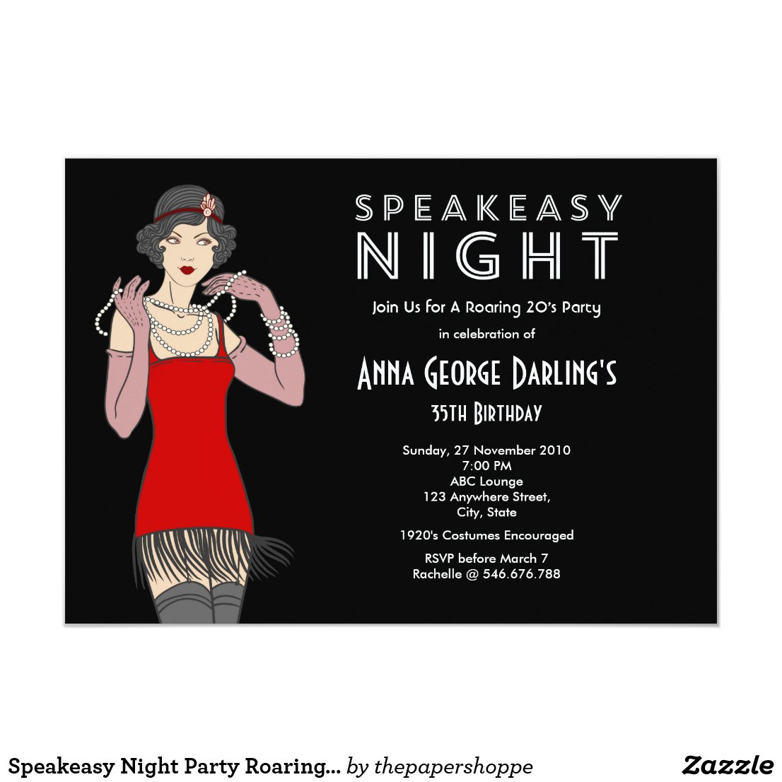 Speakeasy Night Party Roaring 20's Card