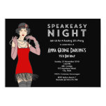 "Speakeasy Night Party Roaring 20's 5"" X 7"" Invitation Card"