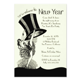 """Speakeasy Roaring 20's New Year's Eve Party 5"""" X 7"""" Invitation Card"""