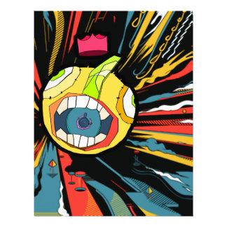 Speaker ball character in explosive background letterhead
