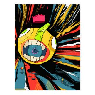 Speaker ball character in explosive background postcard