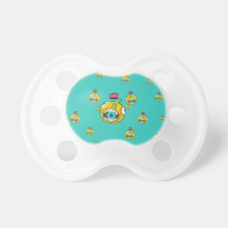 Speaker mouth ball character in explosive backgrou pacifier