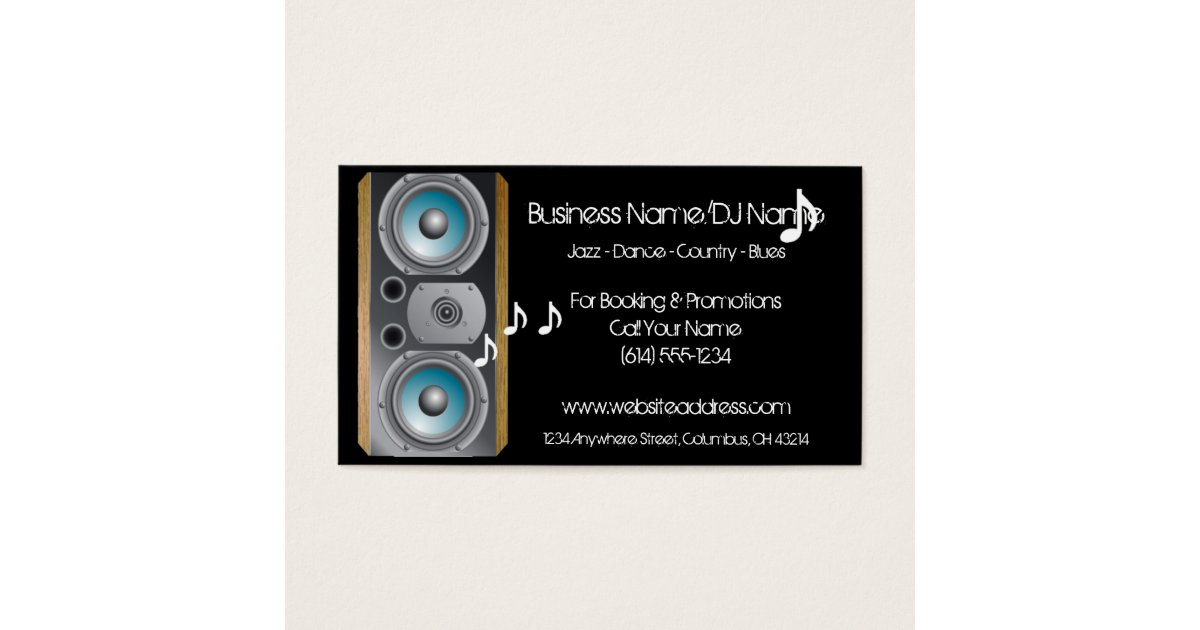 Speaker Music Notes (Music or DJ) Business Cards | Zazzle.com